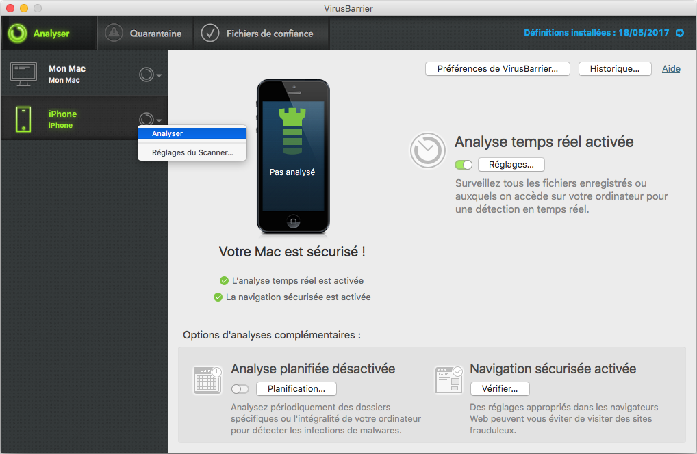 VirusBarrier > iPhone : Analyser