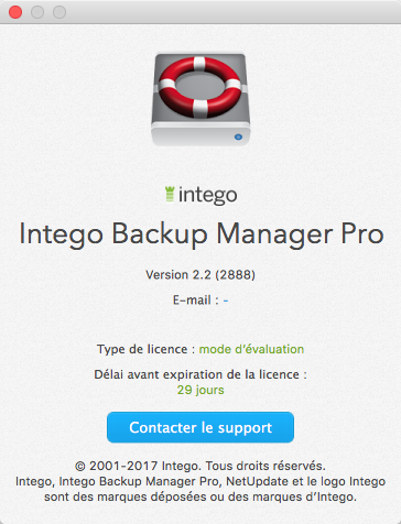 À propos de Intego Backup Manager Pro >  Version 2.2 > Mode d'évaluation