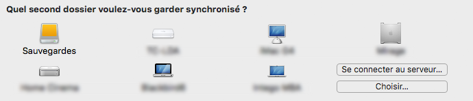 Destination de synchronisation