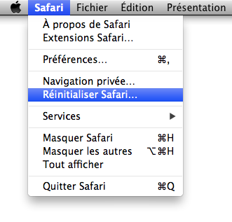 Menu Safari > Réinitialiser Safari…