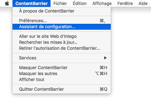 ContentBarrier  > Assistant de configuration…