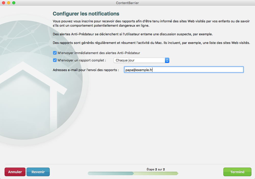 Assistant ContentBarrier > Configurer les notifications