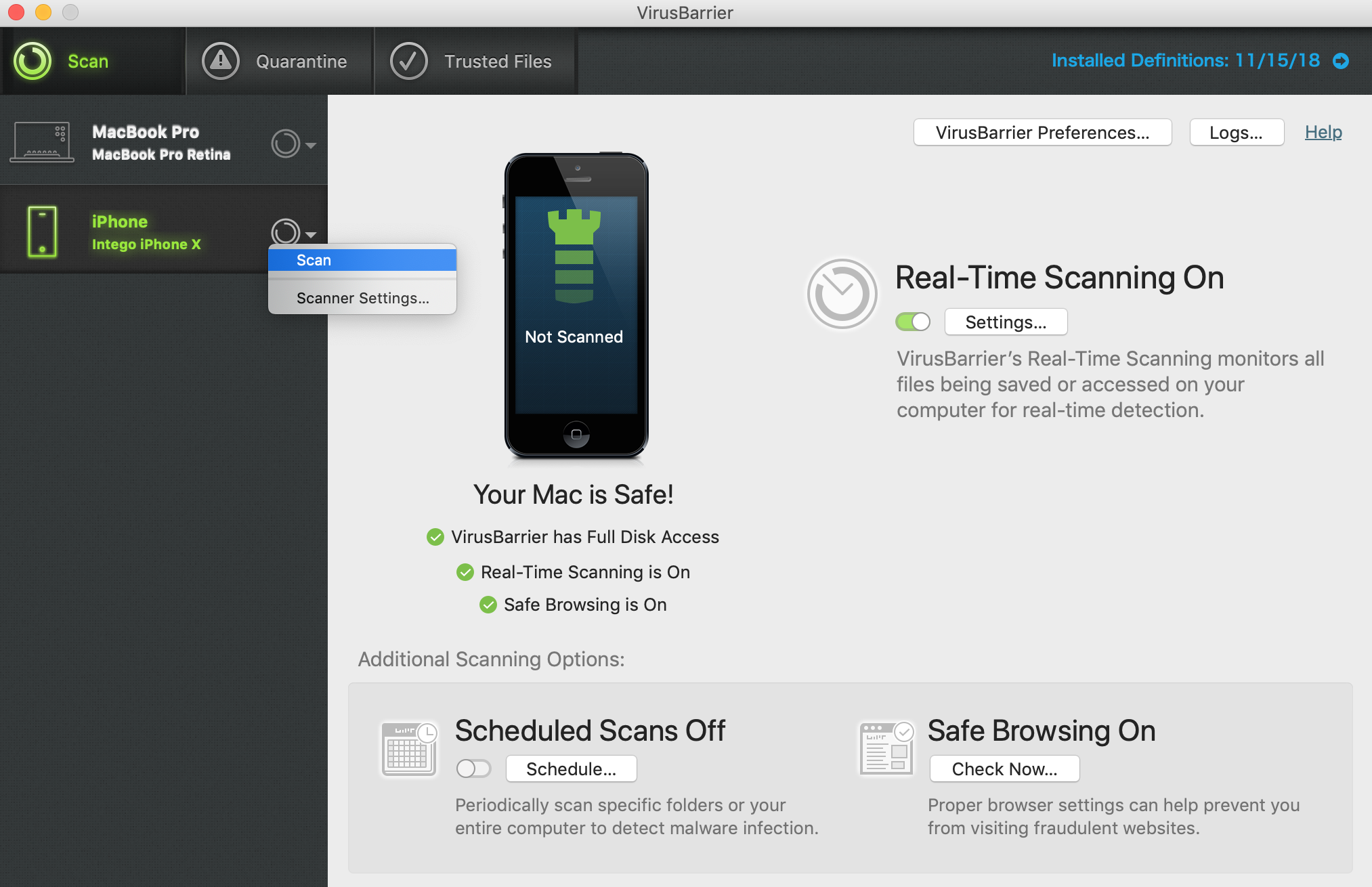 virus scan for iphone virusbarrier x9 how to scan iphone and ipod touch 4517