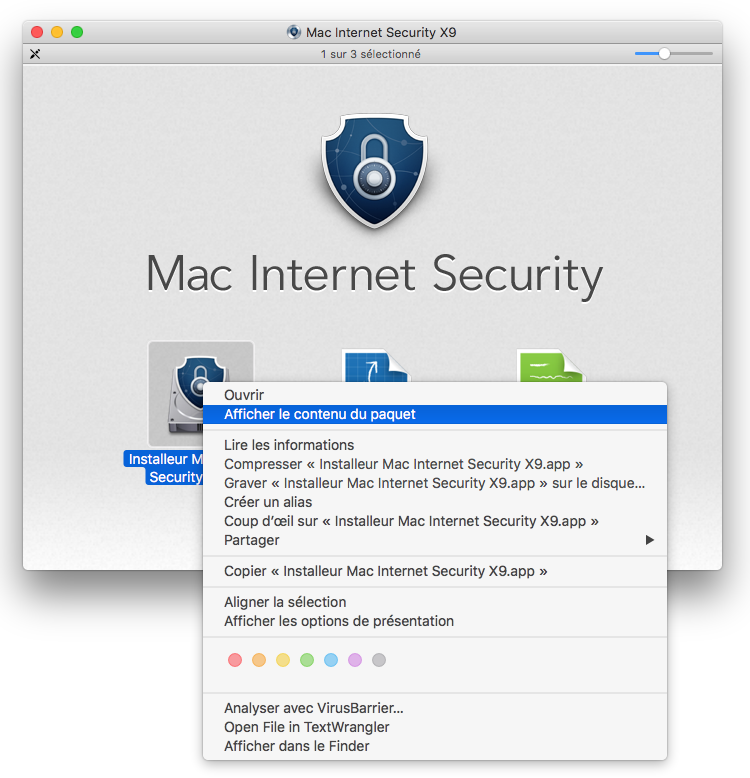 Installeur Mac Internet Security X9 > Afficher le contenu du paquet